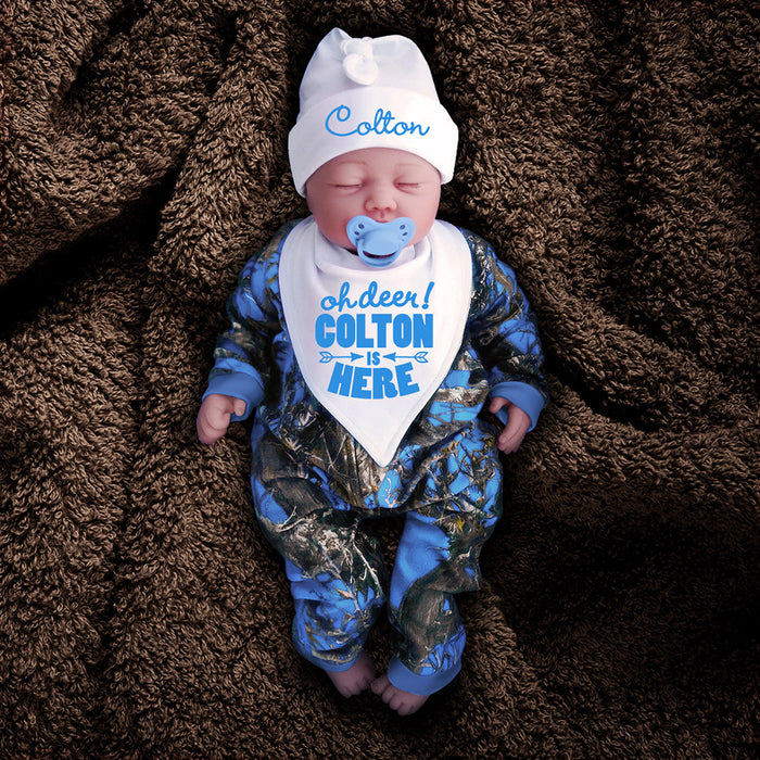 Blue Camo Zip Onesie with Personalized Hat & Bib