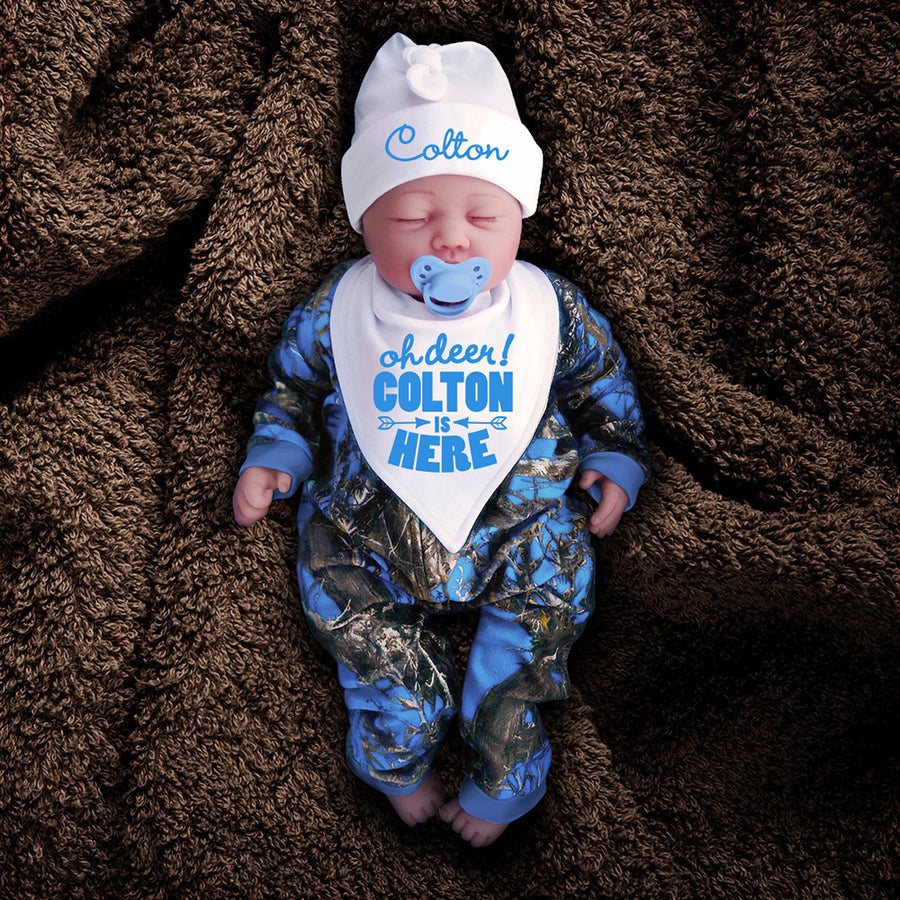 Blue Camo Zip Onesie with Personalized OH DEER! Hat & Bib