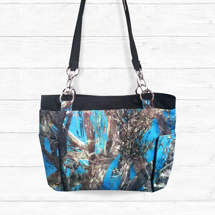 Blue Camo Handbag with Black Trim