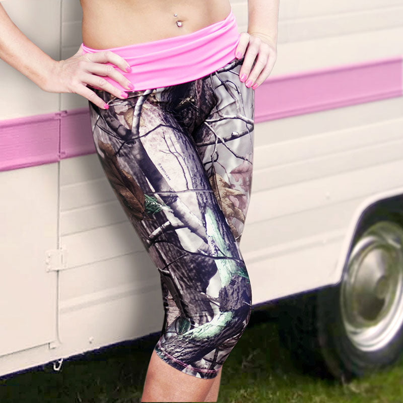 Camo Capris with Pink Waistband