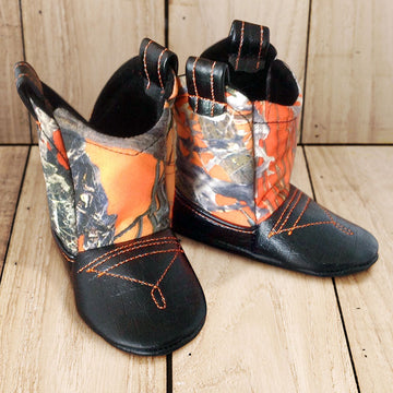 Baby's Cowboy Corral Boots - Blaze (Orange) Camo, Black Faux-Alligator Leather with Orange Stitching, Soft Black Felt Lining