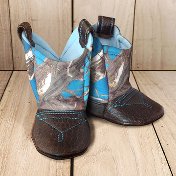 Baby's Cowboy Corral Boots - Blue Camo, Black Faux-Alligator Leather with Blue Stitching, Soft Baby Blue Felt Lining