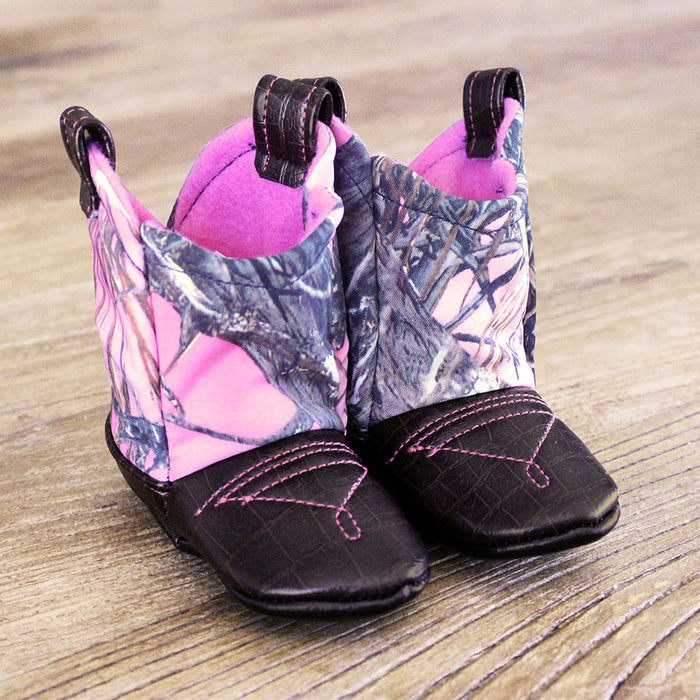 Baby's Cowboy Corral Boots - Pink Camo, Dark Brown Faux-Alligator Leather with Pink Stitching, Soft Bright Pink Felt Lining
