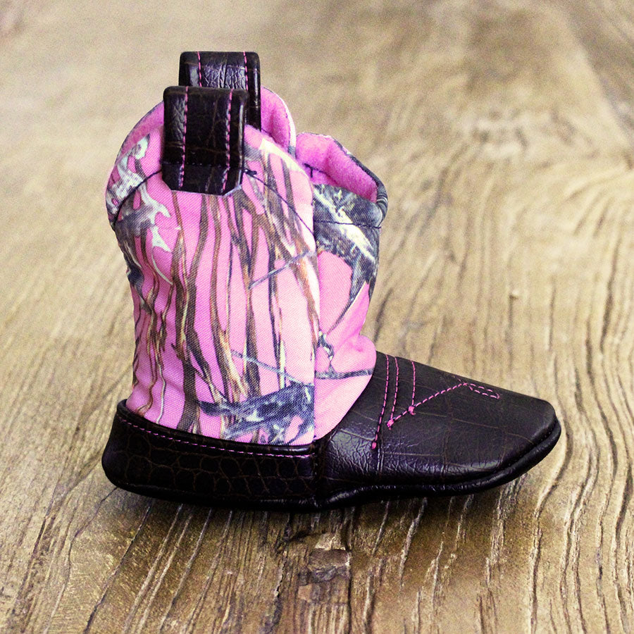 Baby's Cowboy Corral Boot - Pink Camo, Dark Brown Faux-Alligator Leather with Pink Stitching, Soft Bright Pink Felt Lining