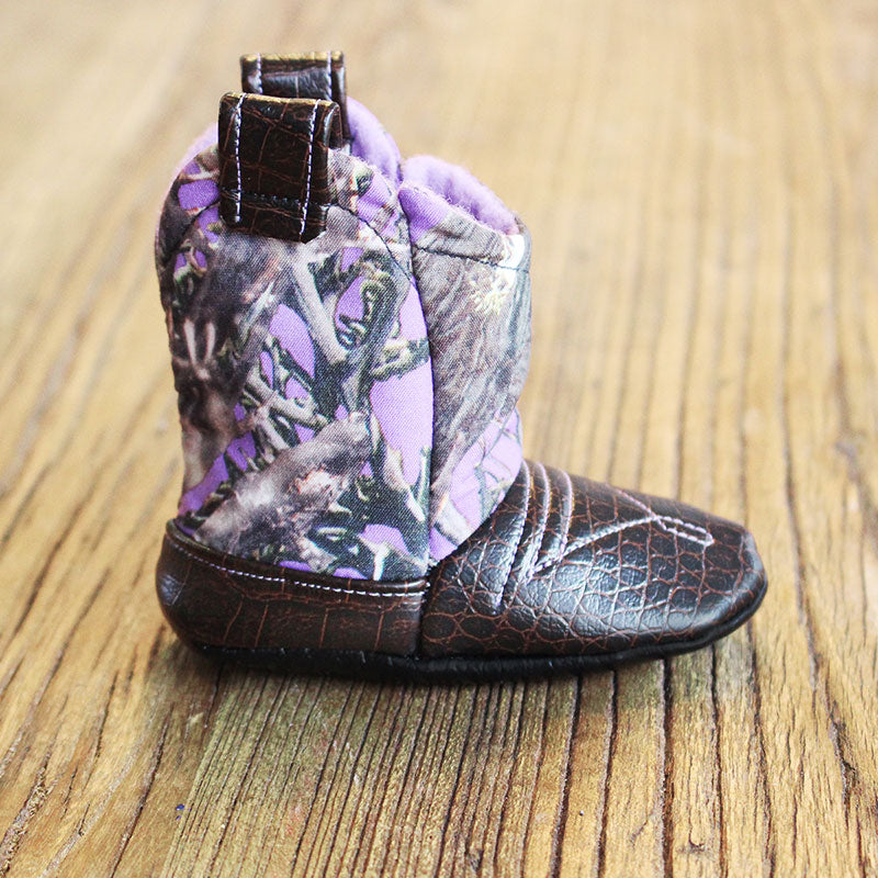 Baby's Cowboy Corral Boot - Purple Camo, Dark Brown Faux-Alligator Leather with Purple Stitching, Soft Purple Felt Lining