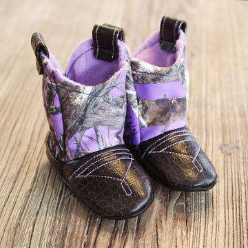 Baby's Cowboy Corral Boots - Purple Camo, Dark Brown Faux-Alligator Leather with Purple Stitching, Soft Purple Felt Lining