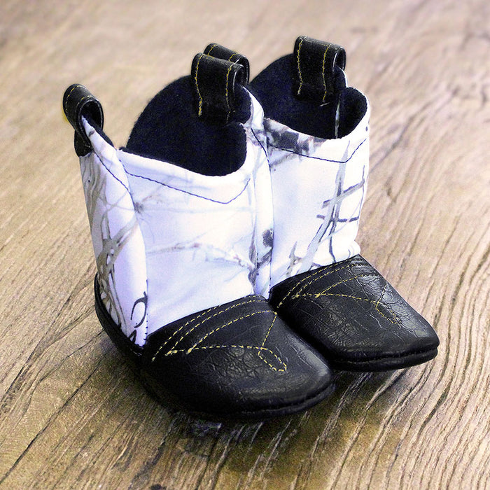 Baby's Cowboy Corral Boots - Snow (White) Camo, Black Faux-Alligator Leather with Gold Stitching, Soft Black Felt Lining