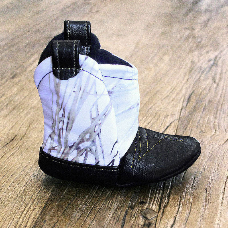 Baby's Cowboy Corral Boot - Snow (White) Camo, Black Faux-Alligator Leather with Gold Stitching, Soft Black Felt Lining
