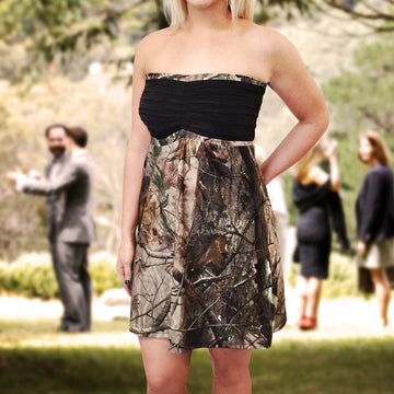 Camo & Black Strapless Bridesmaids Dress