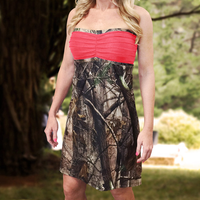 Camo & Coral Strapless Bridesmaids Dress