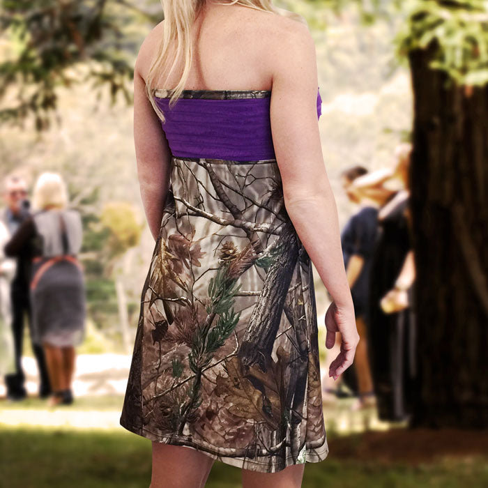 Camo & Purple Strapless Bridesmaids Dress