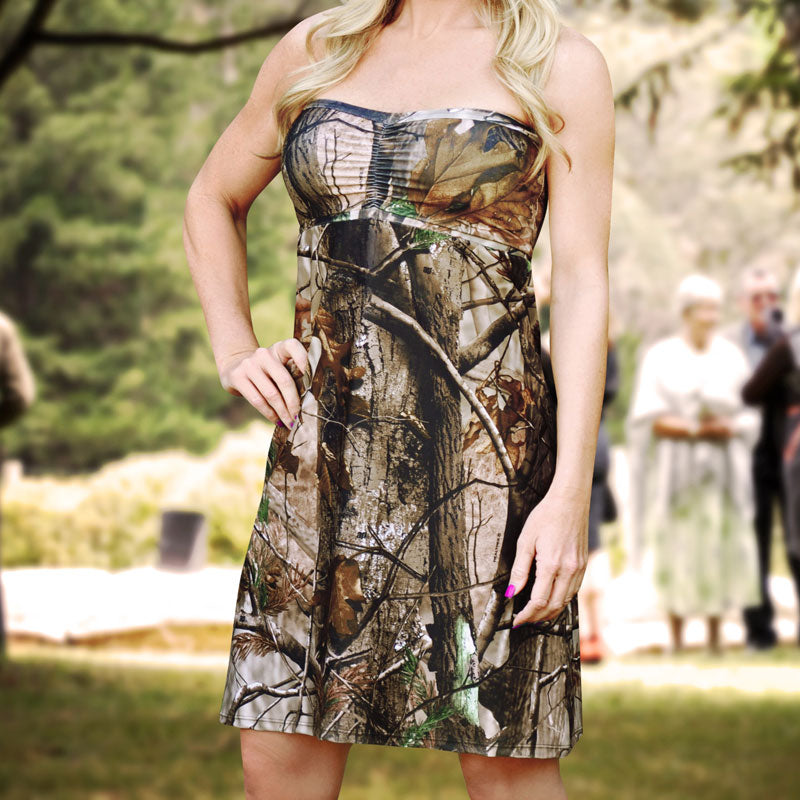 Strapless Camo Bridesmaids Dress