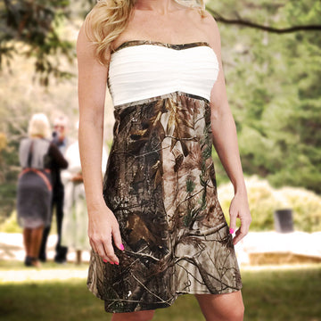 Camo & White Strapless Bridesmaids Dress