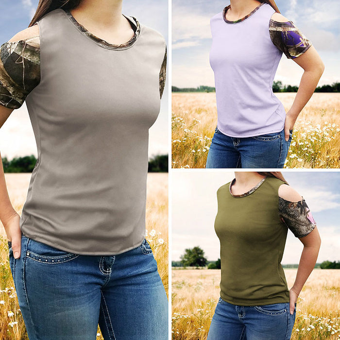 Camo Cold Shoulder Shirts
