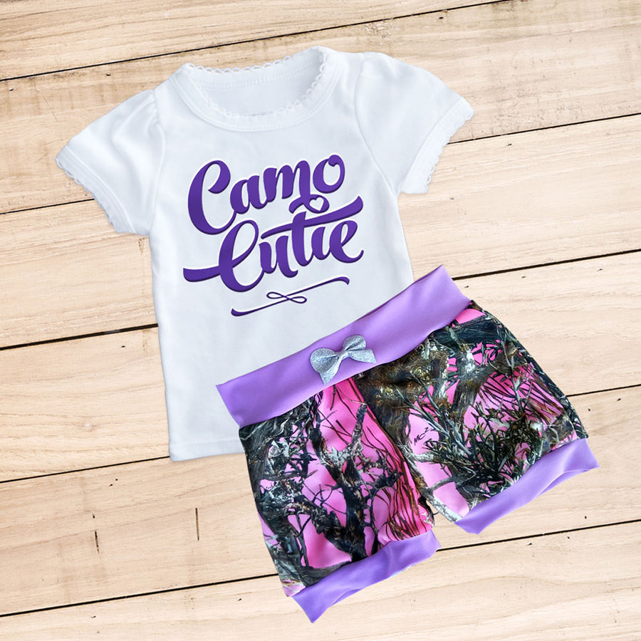 CAMO CUTIE Shorts & Shirt Set