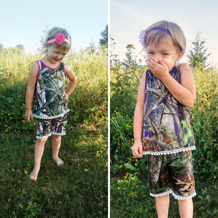 Camo & Lace Tanktop and Shorts Set