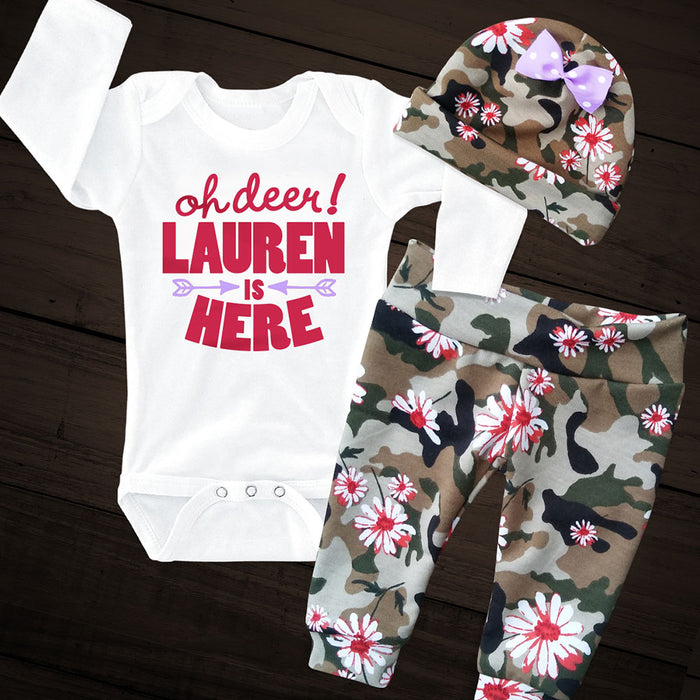 Personalized OH DEER! Onesie and Camo Pants Set