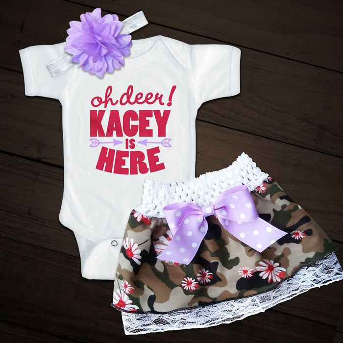 Personalized OH DEER! Shirt and Camo Skirt Set