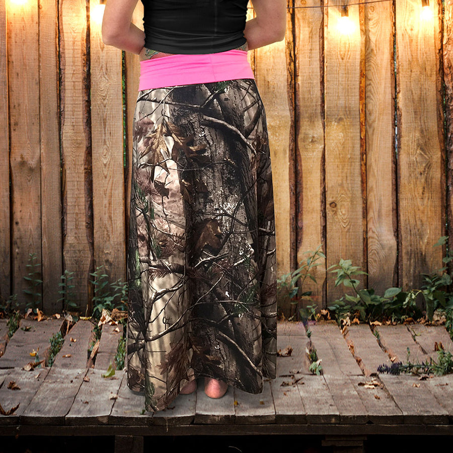 Camo Maxi Skirt with Yoga Waistband