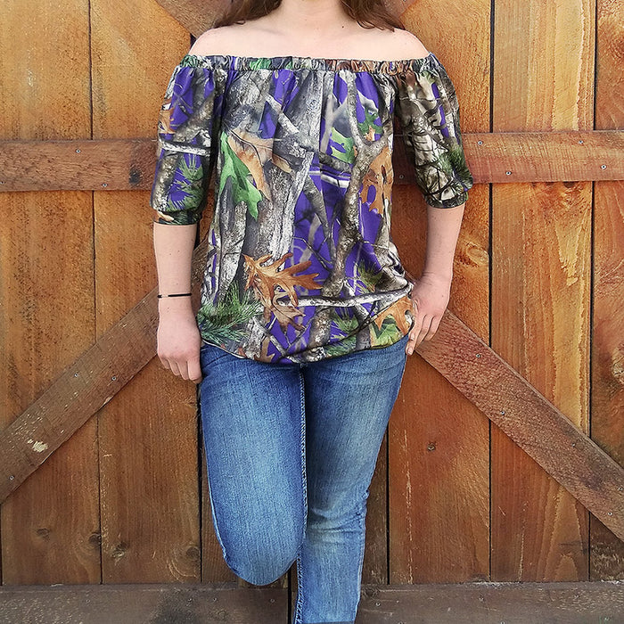 Camo Off-the-shoulder Top