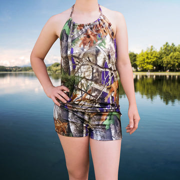 Camo Halterneck Top & Shorts Set