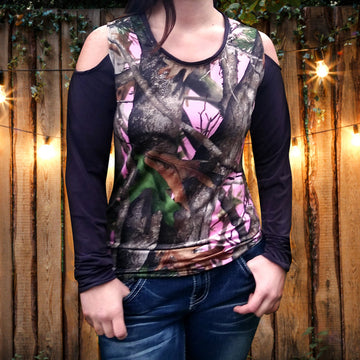 Camo Cold Shoulder Longsleeve