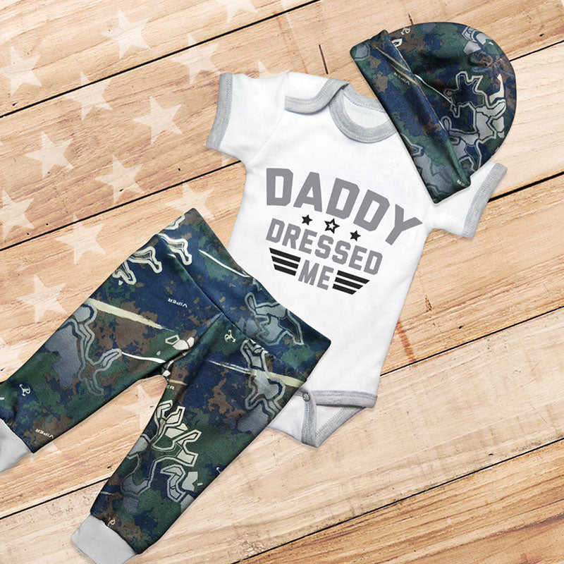 DADDY DRESSED ME 3-piece Military Baby Set
