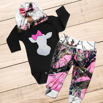 DOE WITH A BOW 3-piece Pink Camo Set