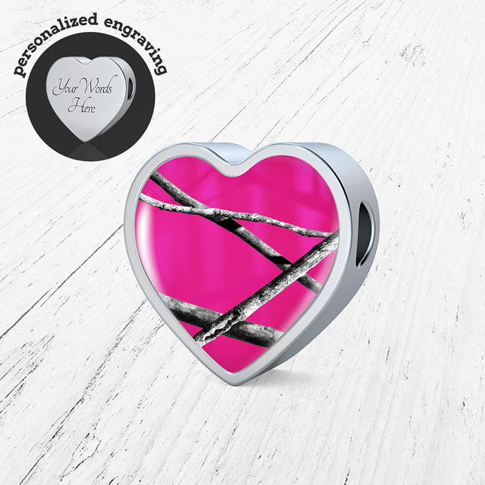 Hot Pink Camo Heart Charm Only