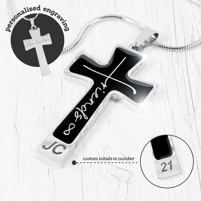 """Friends Forever"" Cross Necklace"