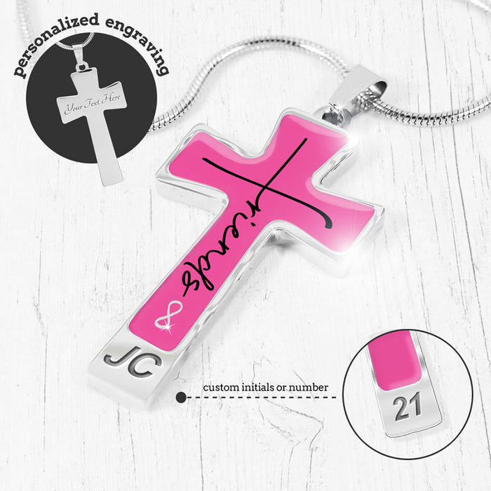 """Friends Forever"" Pink Cross Necklace"