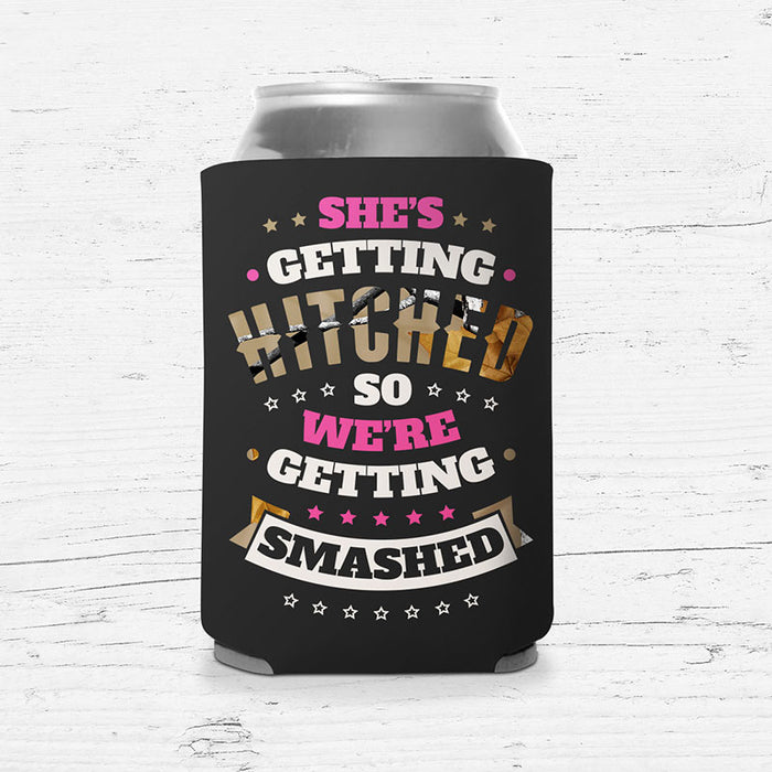 """Hitched & Smashed"" Bachelorette Koozie"