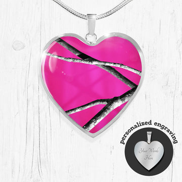 Hot Pink Camo Heart Pendant Necklace
