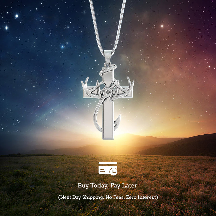 Hunting, Faith and Fishing - Sterling Silver Cross Pendant Necklace. Buy Today, Pay Later