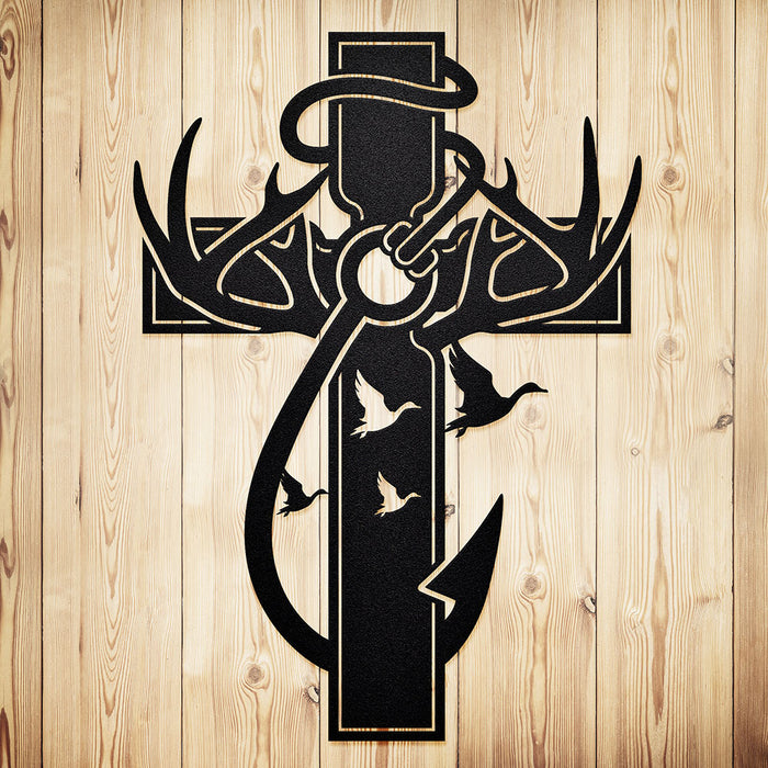 """Hunting, Faith and Fishing"" Steel Wall Cross (with Ducks)"