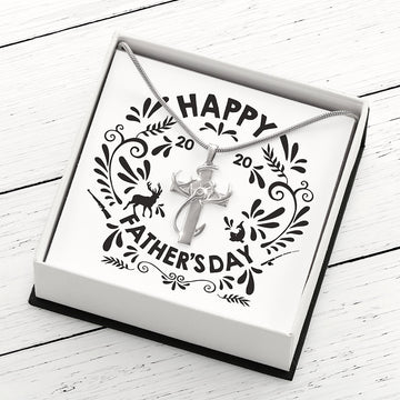 Hunting, Faith and Fishing Special Edition - Sterling Silver Cross Pendant Necklace in Gift-box with Happy Fathers Day 2020 Card Insert