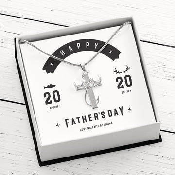 Hunting, Faith and Fishing Special Edition - Sterling Silver Cross Pendant Necklace in Gift Box with Happy Fathers Day 2020 Card Insert