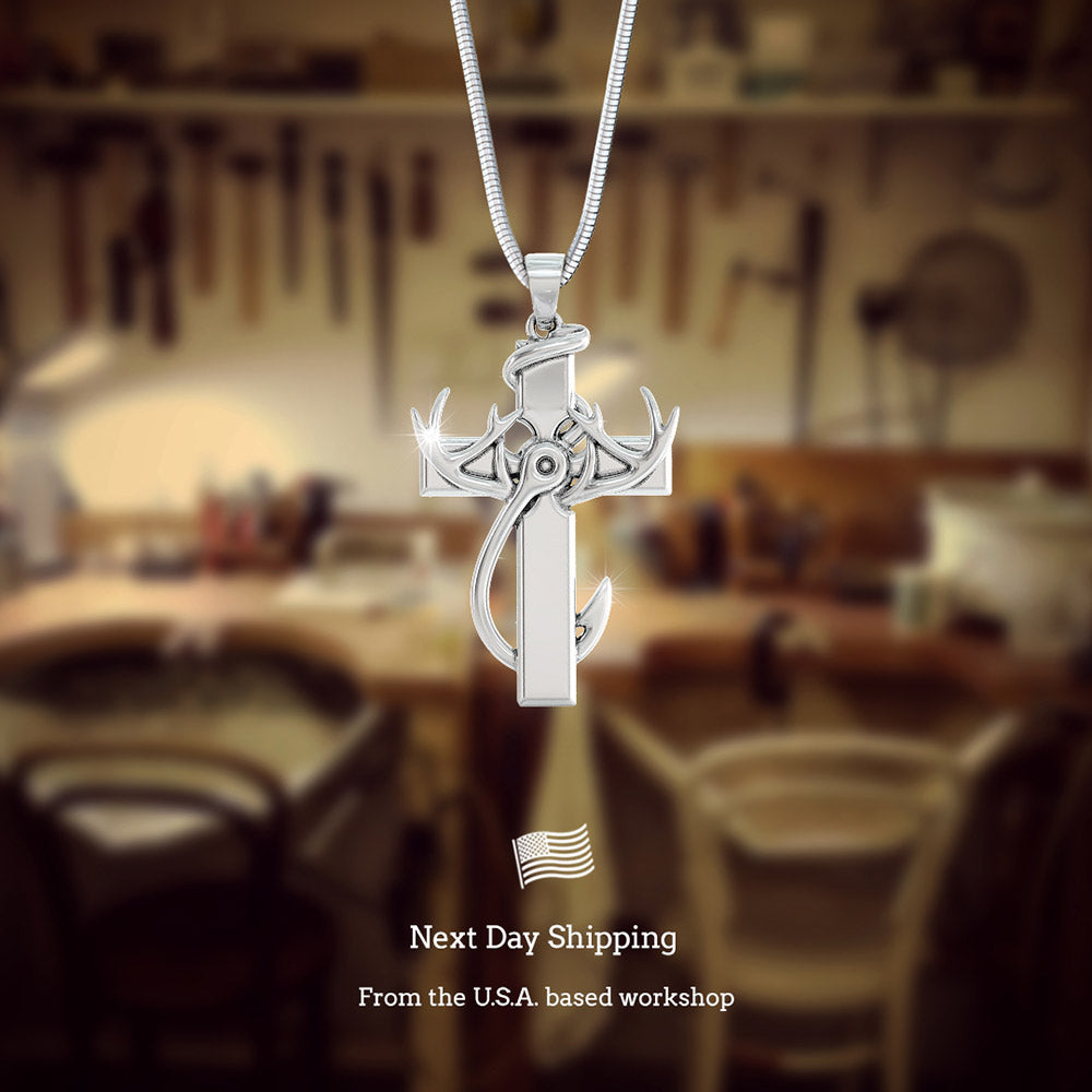 """Hunting, Faith & Fishing"" Pendant Necklace"