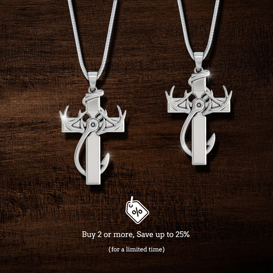 Hunting, Faith and Fishing - Sterling Silver Cross Pendant Necklace. Buy 2 or more, Save up to 25%