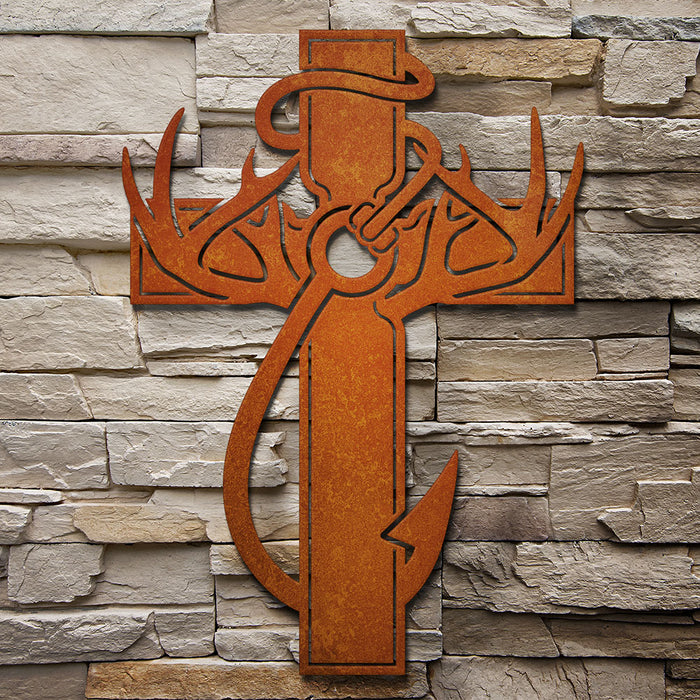 """Hunting, Faith and Fishing"" Steel Wall Cross"