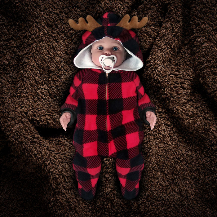 The Huntsie - Red/Black Buffalo Check (Lumberjack) Fleece Baby Jumpsuit with Hood and Antlers