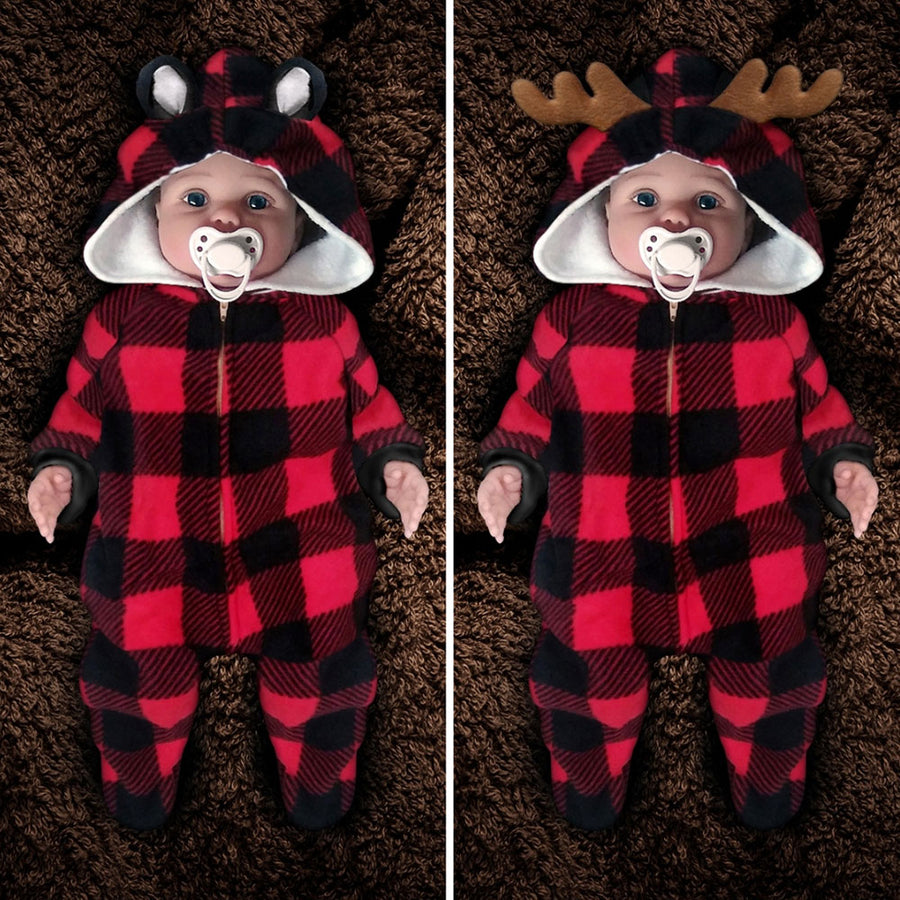 The Huntsie - Red/Black Buffalo Check (Lumberjack) Fleece Baby Jumpsuit with Hood and Ears or Antlers