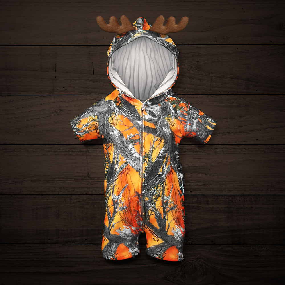 The Short-sleeve Huntsie - Blaze (Orange) Camo Baby Jumpsuit with Front Zipper, Hood and Antlers