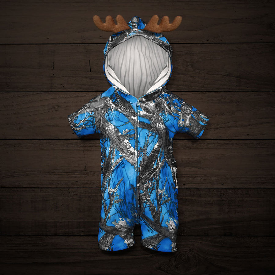 The Short-sleeve Huntsie - Blue Camo Baby Jumpsuit with Front Zipper, Hood and Antlers