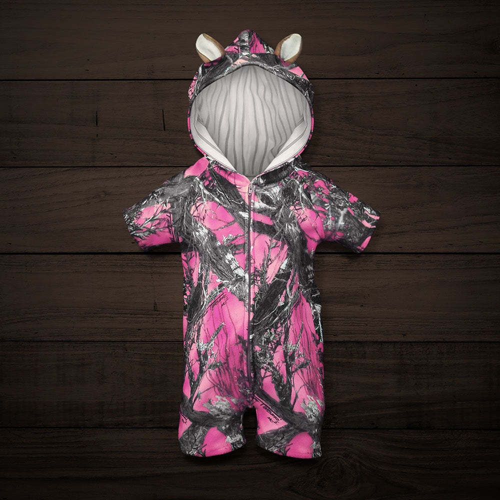 The Short-sleeve Huntsie - Pink Camo Baby Jumpsuit with Front Zipper, Hood and Ears
