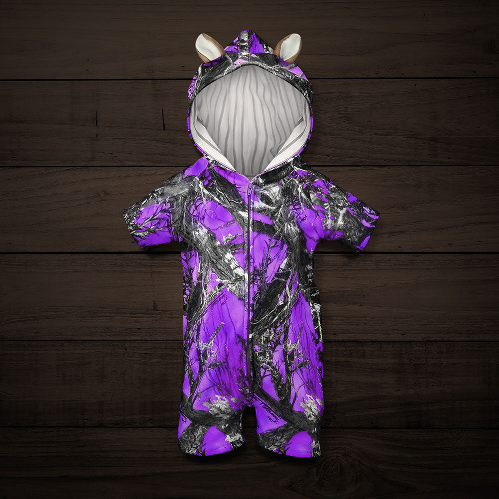 The Short-sleeve Huntsie - Purple Camo Baby Jumpsuit with Front Zipper, Hood and Ears
