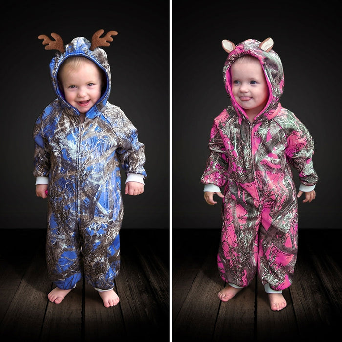 "The ""Huntsie"" Toddler Camo Fleece Jumpsuit with Hood and Antlers or Ears"
