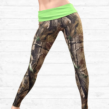 Camo Leggings with Neon Green Waistband