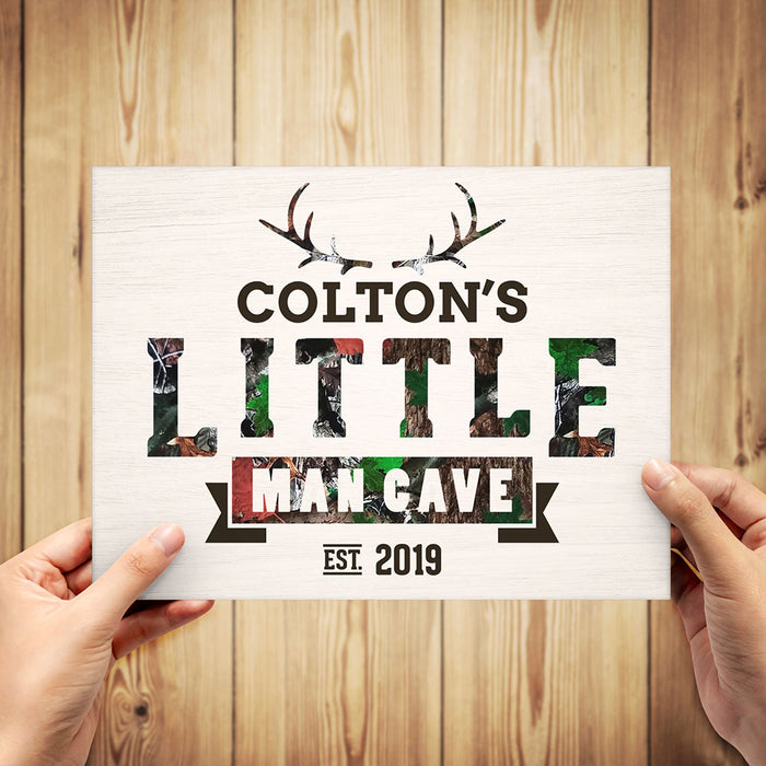 "Personalized Camo ""Little Man Cave"" Sign"