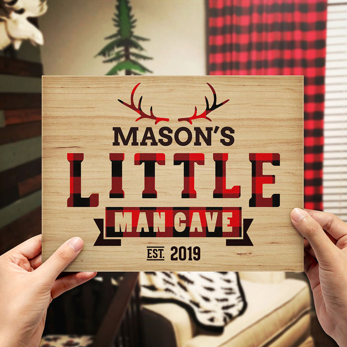 "Personalized Buffalo Check ""Little Man Cave"" Sign"